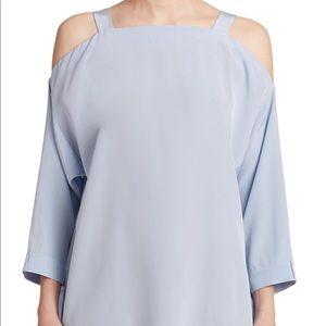 Tibi Silk Cold Shoulder Blouse Size M